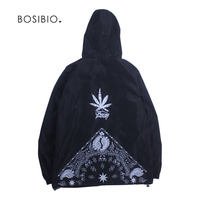 Spring Summer Hooded Jackets Mens Thin Cannabiss Leaf Printing Hip Hop Jackets 2018 Fashion Black Jaqueta