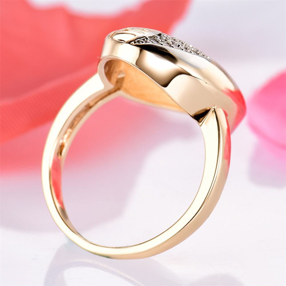 MOLIAM Female Big Oval Ring Fashion Gold Color Jewelry Vintage ...