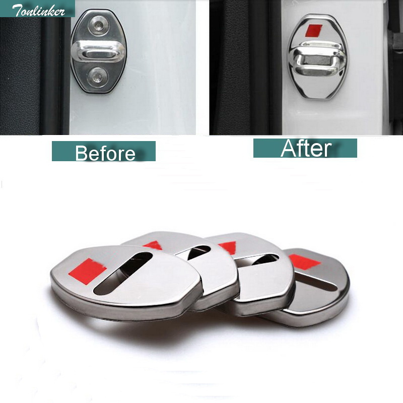 Tonlinker 4 PCS Car styling DIY NEW Stainless Steel The Door Lock With Logo Cover Case Stickers for <font><b>AUDI</b></font> A3 A4 <font><b>A6</b></font> Q3 Q5 2013 image