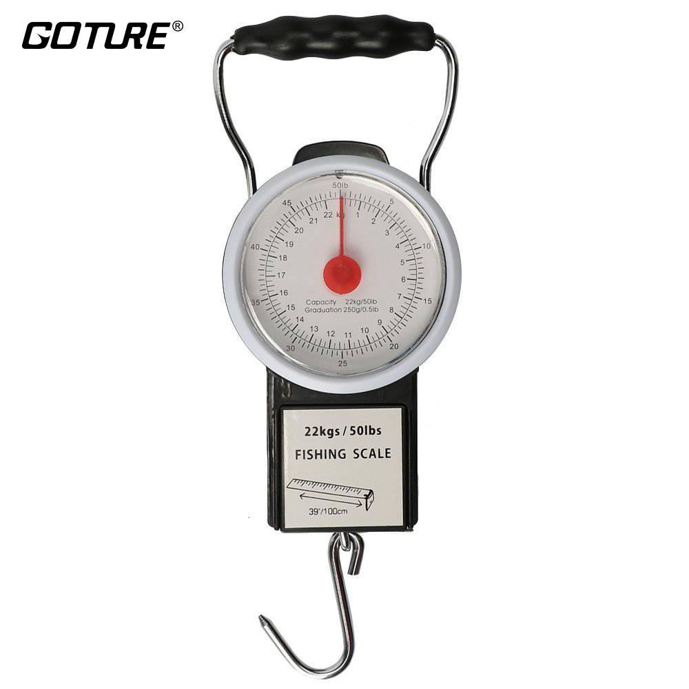 Goture Portable Multi-Purpose Scale Fishing and Luggage Hanging Hook With 1M Tape Measure Max Weight 50lb/22kg