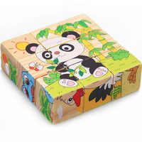 Holz Spielzeug Kinder Puzzle 3D 9 Stück Sechs Seitige Lernen Spielzeug Für Kinder Frühe Pädagogische Tier Obst Muster Kinder Geschenk