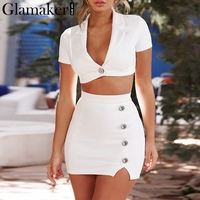 Glamaker Vintage sexy two piece suit women dress Leather suede button short summer dress Spring office mini party dress vestidos