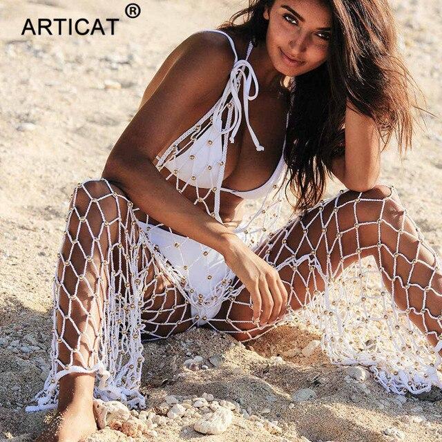 Articat ganchillo hueco traje de verano de las mujeres Sexy cuello V profunda red monos cortos de playa de las mujeres mono overoles