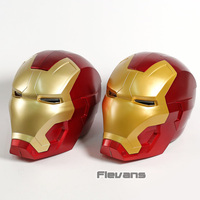 Iron Man Cosplay Mask PVC Figure Toy with LED Light Iron Man Helmet Collection Model Size for Children