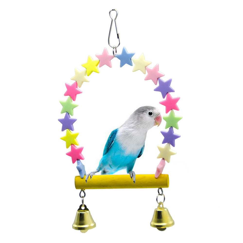 PipiFren Bird Toys Stand For Parrot Conure Accessories Love Swing Perch Cage Decoration Budgie Parakeet Supplies African Grey