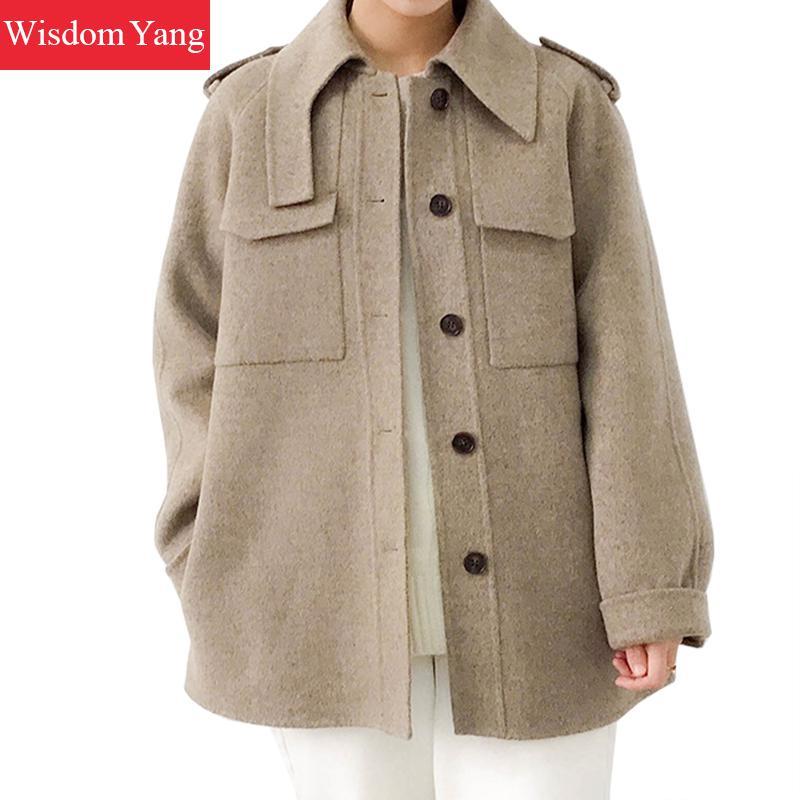 Hiver chaud Beige bleu gris laine manteau veste mouton laine manteaux femmes court Oversize bureau dames laine pardessus