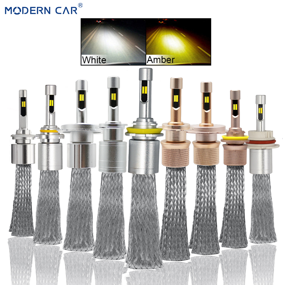 MODERN CAR Dual Color White Amber Fog Lights 72W 8000LM LED Fog font b Lamp b