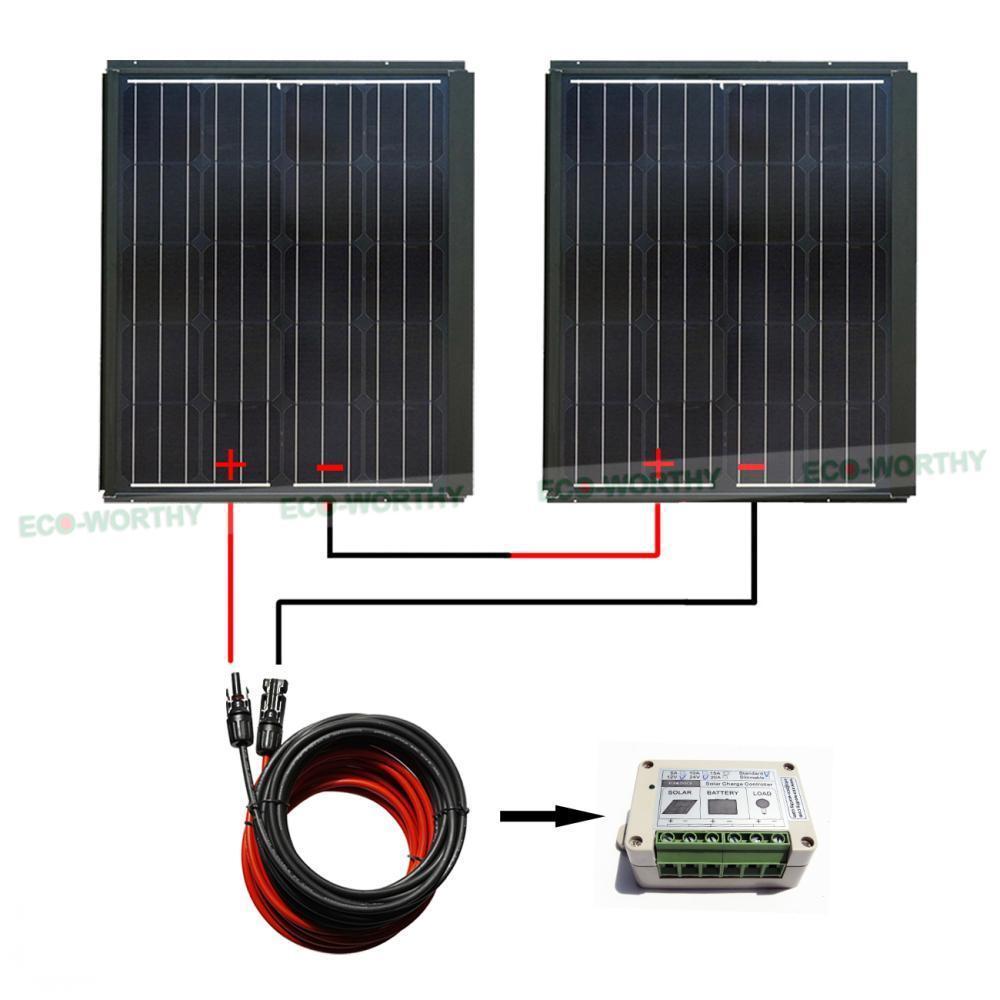 New 180W 2pcs 90W Mono 180W Solar Panel Kit 15A Controller Battery Charging Home Solar Generators 100w folding solar panel solar battery charger for car boat caravan golf cart