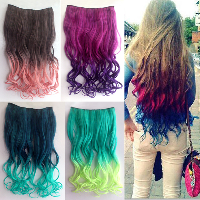 1pc Women Curly Gradient Hair Extensions Multi Color Clip In
