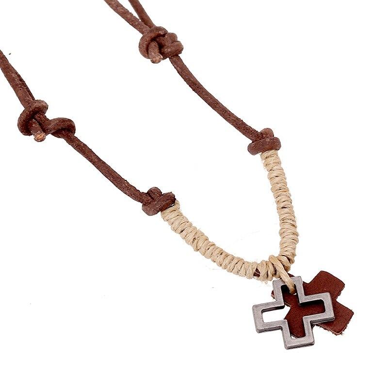 Online buy wholesale hemp pendants necklaces from china hemp 1 pc new arrival necklace men women hemp rope leather alloy cross pendant necklaces aloadofball Images