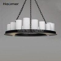 Красивые круглые из светодиодов люстра D90 см, подсвечник форма. 20 e27, 4 прожектор. железа лампы, стекло тень, ретро стиль. Haomer