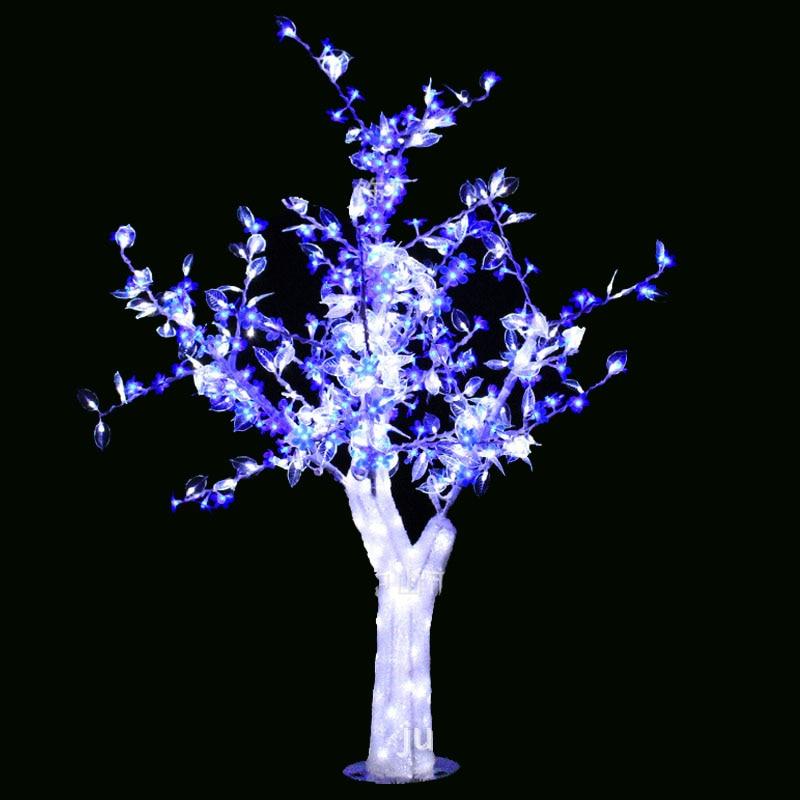 1.5M 5FT LED عيد الميلاد العام الجديد ضوء شجرة الكرز إزهار شجرة مع أوراق بيضاء الزهور الزرقاء في الهواء الطلق للماء داخلي