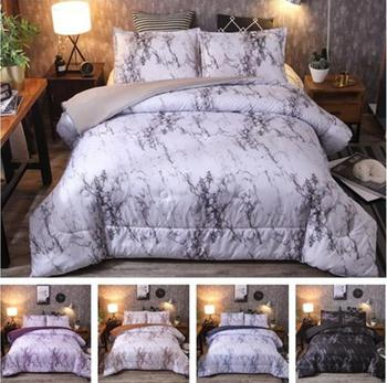 3pcs Marble Polyester Summer Quilt Spring Autumn Blanket Thin Quilt Suitable For Use In Air-conditioning Room With Pillowcases
