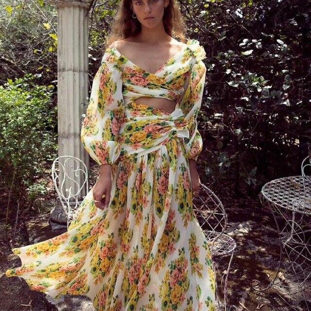 Imprimé Le Plis Entrelacé Golden Découpe Acid Floral Longues Manches Fuite Lemonade Taille Robe Sexy Femmes Surfer Midi xqAzF4In