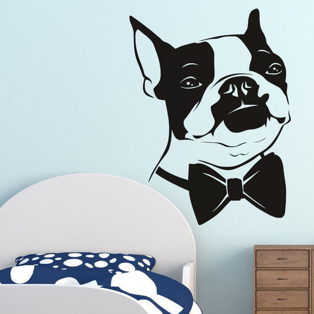 Bow Tie Boston Terrier Wall Decal Cute Dog Head Wall Stickers For