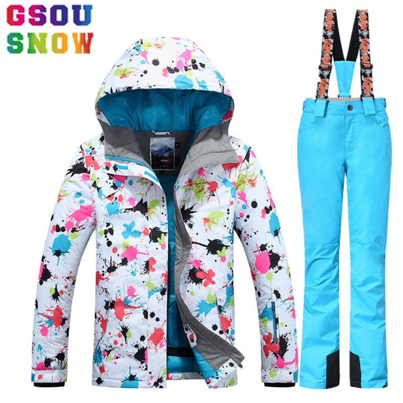 GSOU SNOW Women's Ski Suit Winter Ski Jacket+ski Pants set Waterproof keep warm Outdoor Skiing Suit Snow Snowboard Clothes