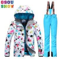 Gsou снег женские лыжный костюм зимняя Лыжная куртка + лыжные штаны комплект водонепроницаемые теплые открытый лыжный костюм зимние сноуборд