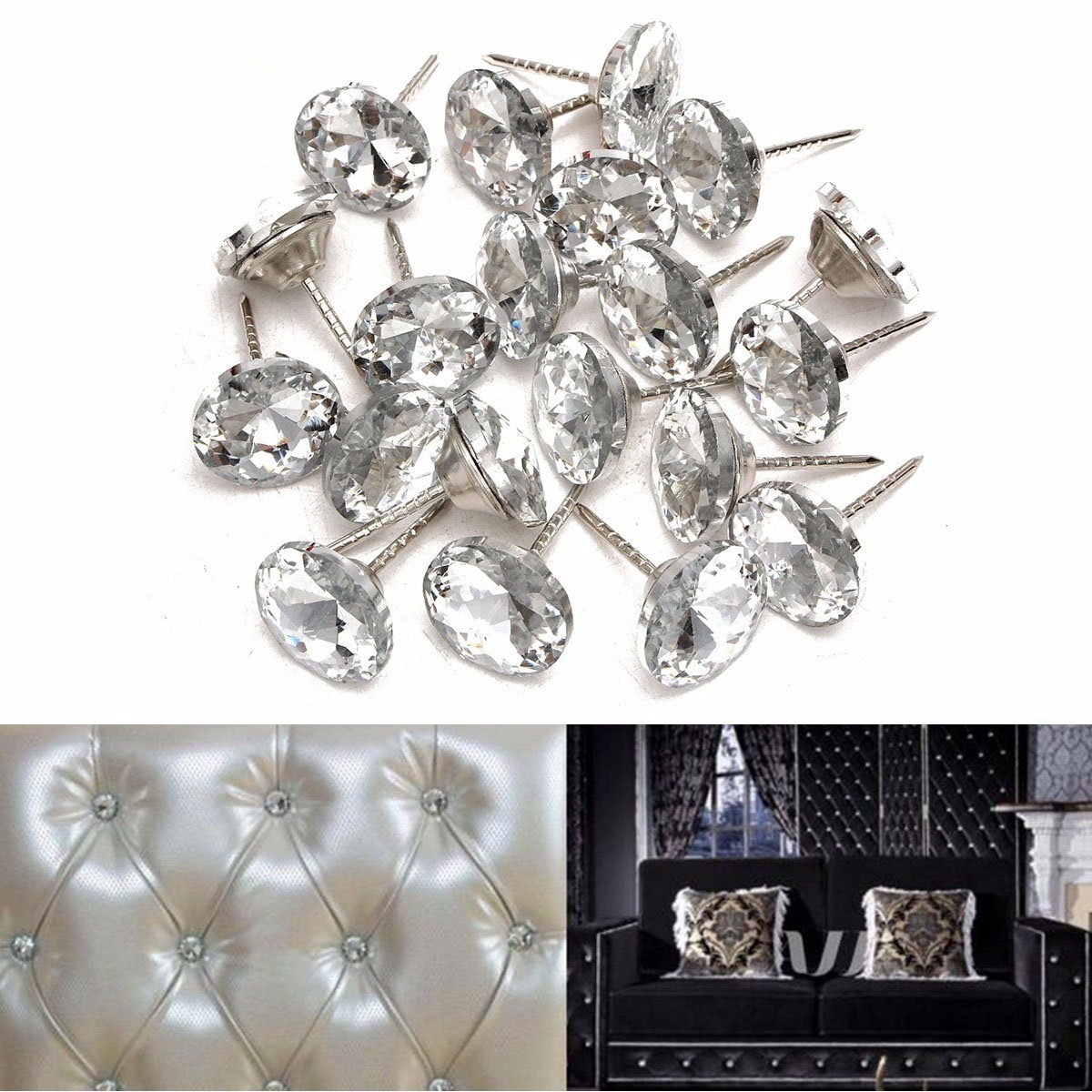 Hoomall 20 Sets Per Pack Crystal Buckle Soft Bag Sofa Nails Diamond Buckle Diamond Buttons Background Decorative Buckle