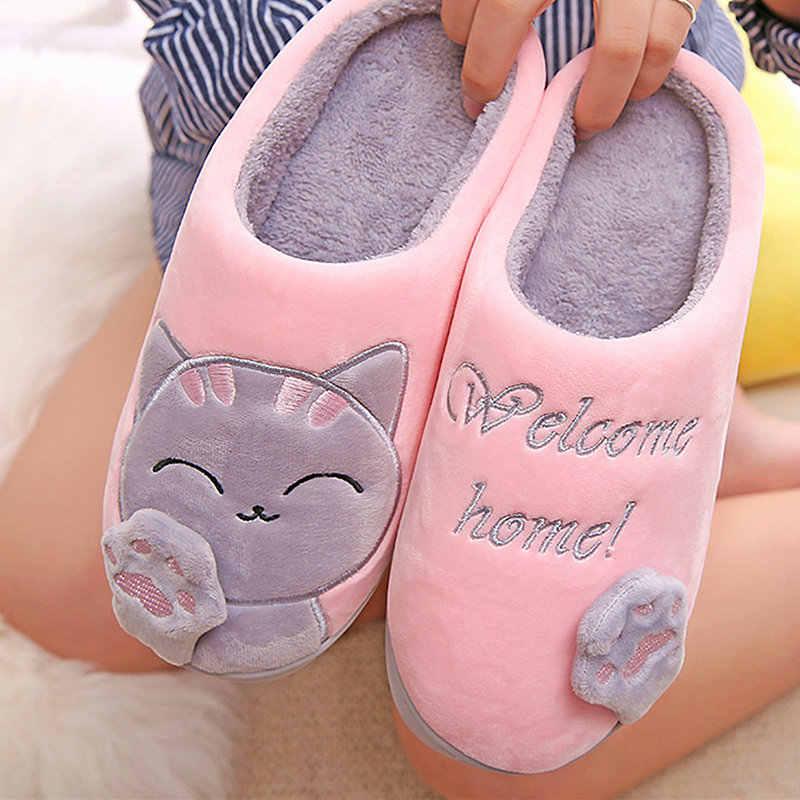 Zapatillas de Invierno para mujer, zapatillas de felpa para el hogar, lindas zapatillas de gato para mujer, zapatos de interior cálidos para mujer, calzado de hombre y Animal
