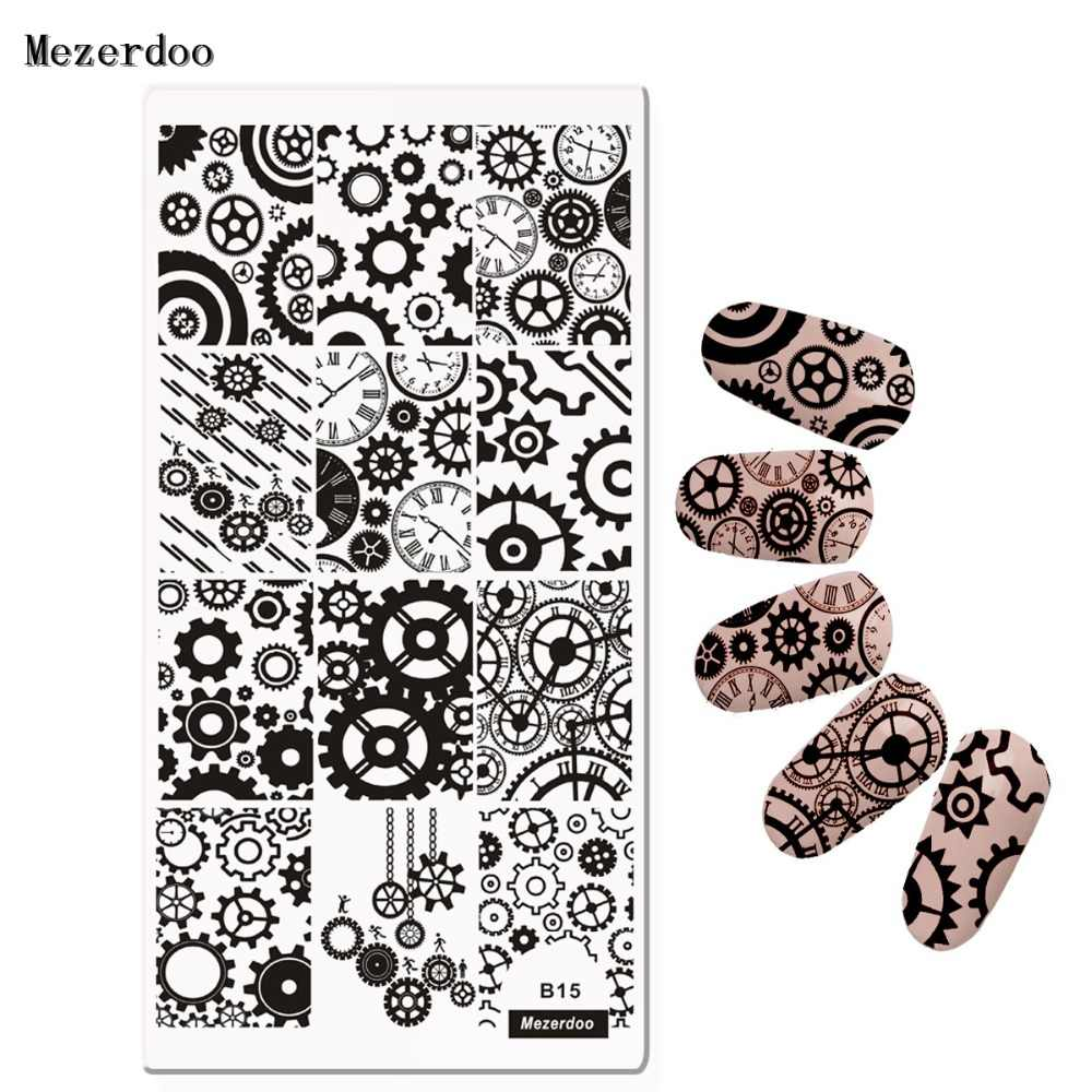 Gear Wheel Nail Art Stamping Template Image Plate Wrench Chain Nail Stamping Plates Manicure Stencil Accessories Mezerdoo B15