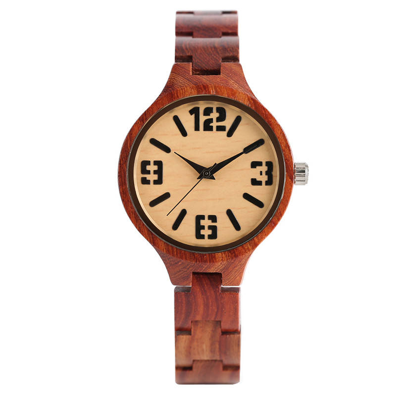 Elegant Trendy Ladies Quartz Hand-made Red Wooden Bamboo Watch Small Size Wood Watchband Bracelet Clasp Luxury Gift for Female natural hand made classic red wooden men quartz watch bracelet clase full wood band simple scale dial cool gift reloj masculino