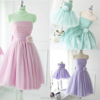 2018 Actual Imagine Mini Bridesmaid Dress A Line Strapless Short Fruit Colored Tulle Mother Daughter Dresses for Wedding Party