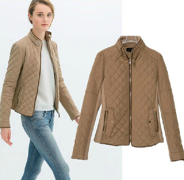 European style ladies quilted jacket stitching Slim long sleeved ...