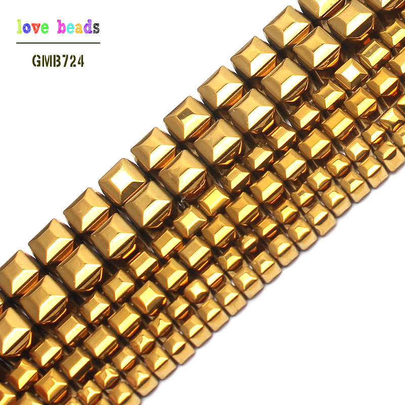 Beads & Jewelry Making Jewelry & Accessories Natural Stone Coated Golds Pated Hematite Cube Square Loose Beads For Jewelry Making 15inch 3/4/6mm Spacer Beads Making Bracelet Bright In Colour