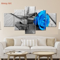 5 Panels Gray Roses Flowers Wall Pictures for Living Room Photo to Canvas Wall Art Home Decor Bedroom Canvas Painting Flowers