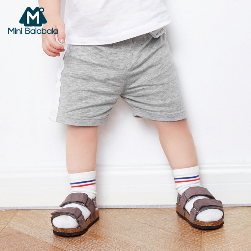 Mini Balabala Babys 100% Soft Cotton Side-Striped pants Infant Newborn Baby Boy Baby Girl Pull-on Short PP Pants for Summer