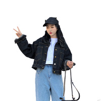2019 Jeans Jacket Women Spring Autumn Loose Fit Casual Long Sleeve Single Breasted Bomber Denim Jacket for Women Plus Size