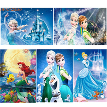 New DIY 5D full diamond cartoon painting cross stitch embroidery little mermaid princess set mosaic decoration