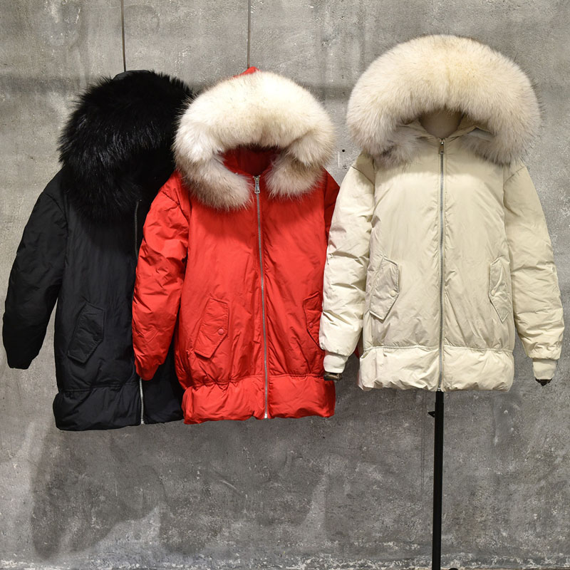 Female Parkas For Winter Jacket Women 2018 Long Thick Parka 90% White Duck   Down   Jacket 100% Real Raccoon Fur Collar Hooded   Coat