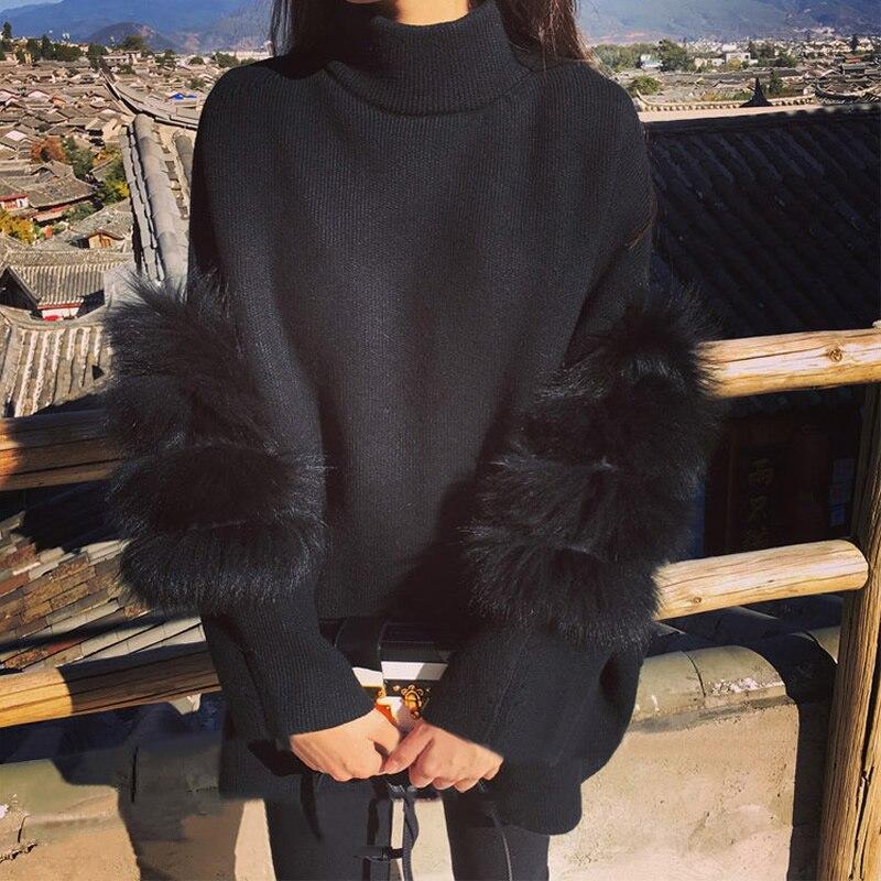 Mullido mujeres suéter Oversized cuello de tortuga manga de Piel negro blanco Otoño Invierno Knited Pullover femme pull back zipper