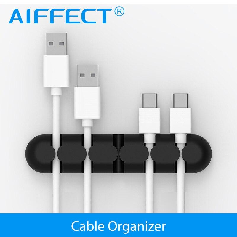 Aiffect cabo gestão dobadoura com silicone pegajoso desktop fio organizador clipes de desktop cabo gestão fone de ouvido cabo titular