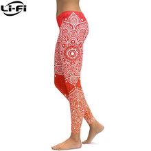 LI-FI Red To Orange Mandala Yoga Leggings Sexy Yoga Pants Workout Sports Gym Leggings(China)