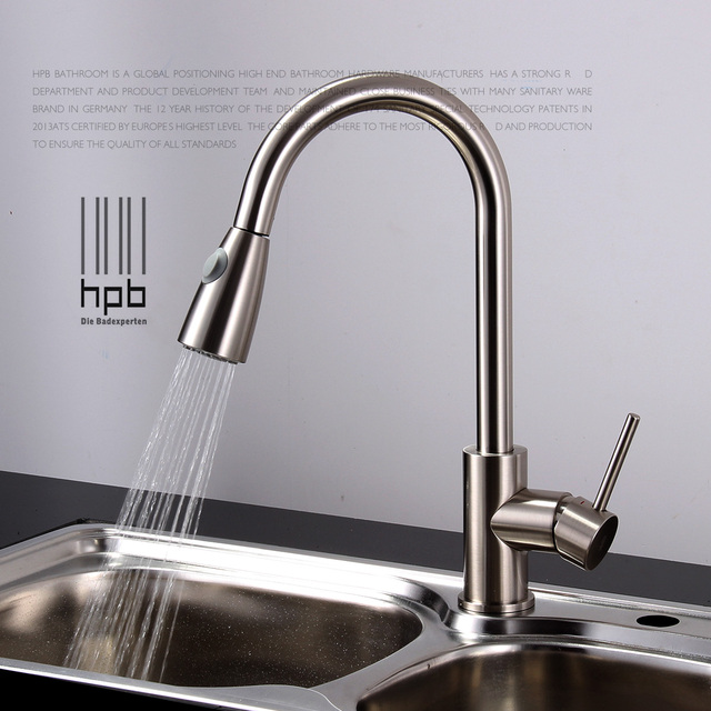Brass sink mixer hot and cold water tap pull type retractable ...