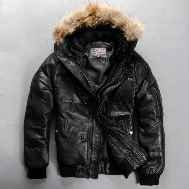 d741999de07b Avirex fly leather down jacket men real fur hooded winter leather jacket  men black sheepskin coat for men duck down coat male