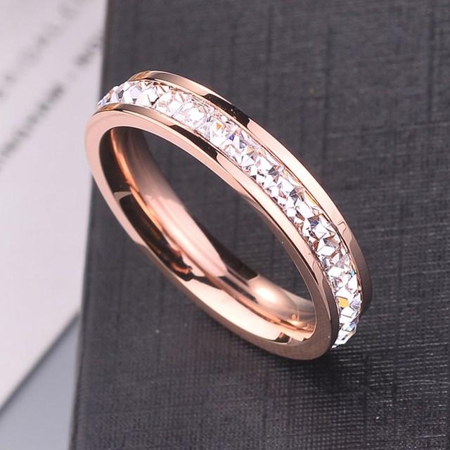KNOCK  Girls Geometric Ring  Filled & Rose Gold Ring Promise Wedding Engagement Rings For Women Best Gifts 6