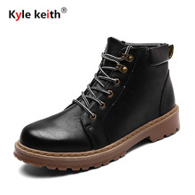 Kyle Keith New Men's Winter Pu Leather Ankle Boots Men Autumn Waterproof Snow Boots Leisure Martin Autumn Boots Shoes Mens