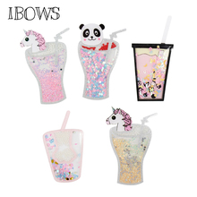 IBOWS Sequin Acrylic Liquid Quicksand Patches Cute Unicorn Drink for Handmade Phone Case Girl Hair Bow Accessories DIY Suppliers