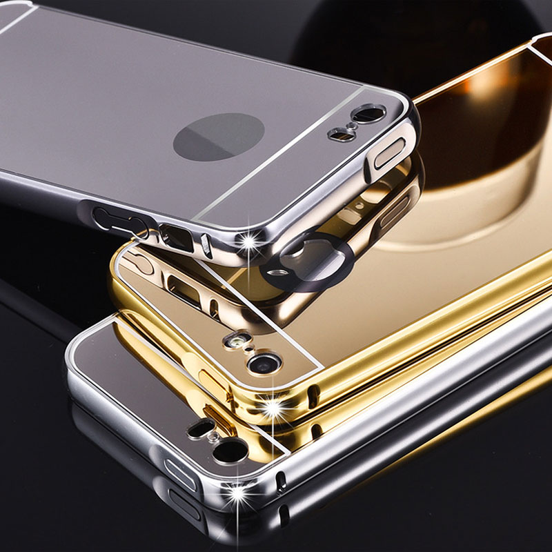 For iPhone 6 6s 4.7inch Mirror Aluminum Case for iPhone 6 Plus 5.5inch SE  5s Case NEW Gold Silver Aluminum Frame + Acrylic Cover 9b8bf26ebd