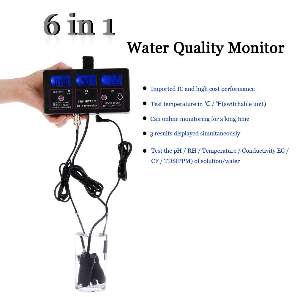 THGS PH multifunction water tester digital water quality professional liquid crystal display 6 in 1 water test (EU Plug)THGS PH multifunction water tester digital water quality professional liquid crystal display 6 in 1 water test (EU Plug)