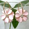 Navachi esmalte rosa flor amarela banhado a ouro claro cristal rhinestone hoop oscila brincos gancho frete grátis smt2437