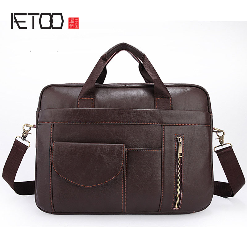 AETOO Solid color business briefcase Korean version of the leather men 's bag leisure men' s Messenger handbag head layer of lea the head of kay s