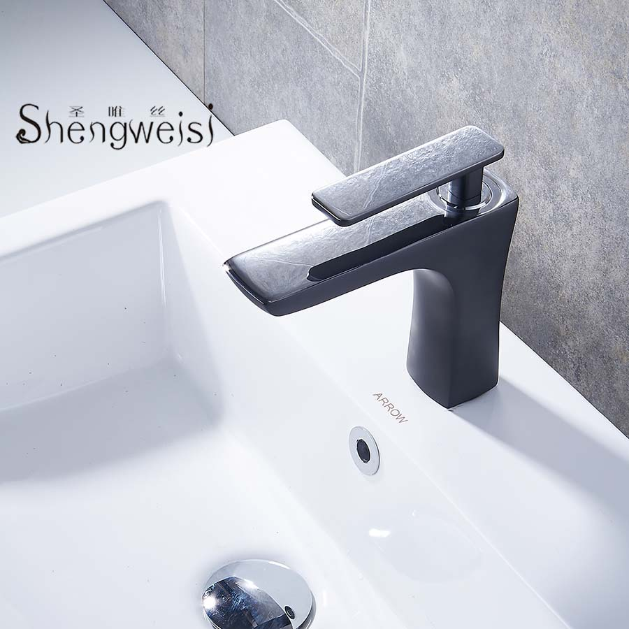 Basin Faucet Brass Bathroom Faucet Basin Tap Black White Chrome Single Handle Hot and Cold Water Mixer Taps Torneira B newest washbasin design single hole one handle bathroom basin faucet mixer tap hot and cold water orb chrome brusehd
