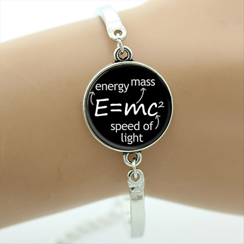 TAFREE Brand E mc2 Albert Einstein Math Physics Bracelet Mathematical Pi Science Jewelry Black And White Art Picture Gifts D160