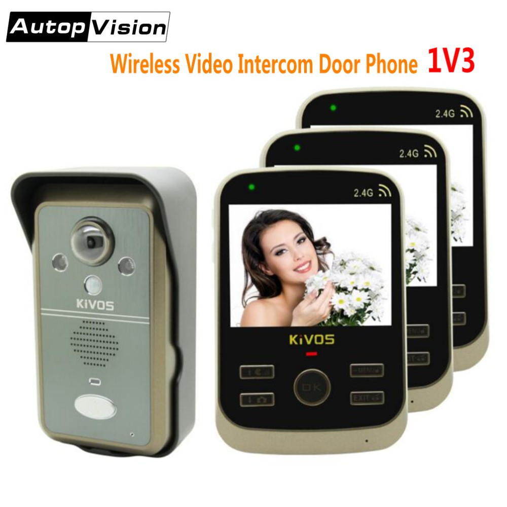 KDB302A 1V3 Wireless Video Intercom Door Phone Doorbell Camera With 3 3.5 Inch LCD Monitors For Home 2 Way Audio Remote Unlock