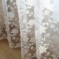 Atacado popular branco cortina da janela moda cortina flor de tule pura cortina para sala de estar personalizado