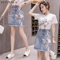 Europe Summer 2019 Woman New Three dimensional Flowers Embroidered with Sequins Short Sleeved T shirt + Denim Skirt Suit Sets